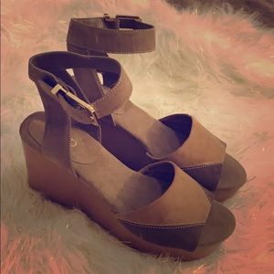 Brown and tan wedge shoes